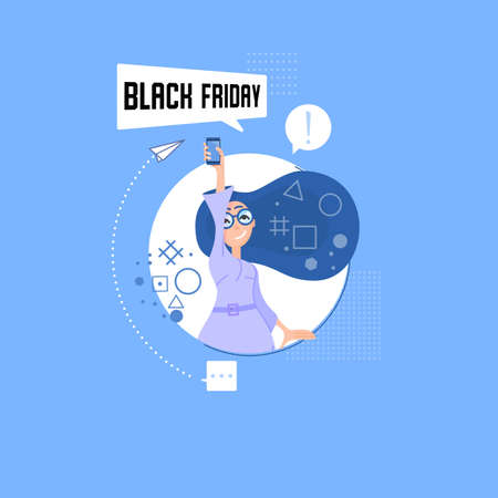 Illustration of a woman holding a mobile phone in her hand and received a message about the start of the Black Friday promotion