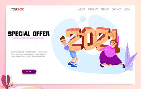 2021 3d. A woman and a man carry figures made of wood on their shoulders. New year sale landing page.