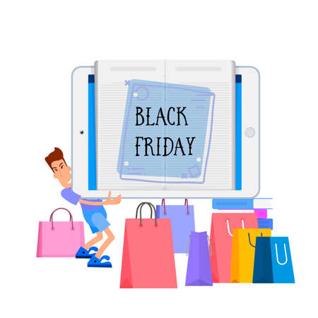 Black friday, a man carries a tablet with a sale banner on the background of shopping and bags.