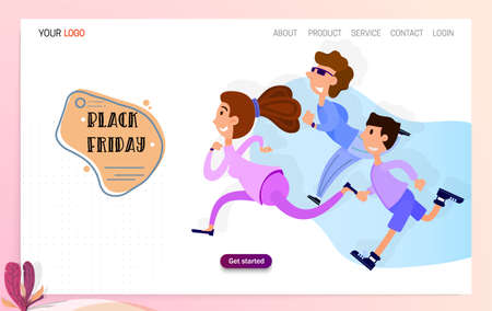 Happy people are running to the sale, Black Friday has begun. Landing page for a discount website