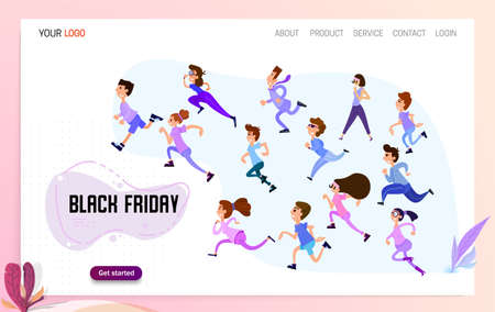 Happy people are running to the sale, Black Friday has begun. Landing page for a discount website Standard-Bild - 155615764
