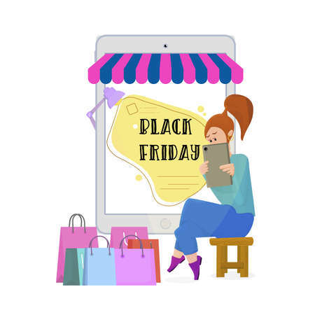 Black Friday - ordering goods for sale online using your tablet. Concept illustration of a tiny woman sitting on the background of a huge tablet.