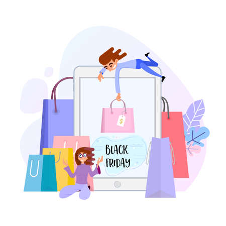 Black friday - concept illustration with tiny people on tablet and shopping background Çizim