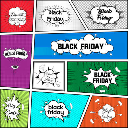 Black friday, comic style bubbles banners.