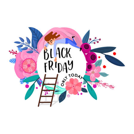 Black friday, floral banner, with character.