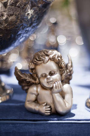 silver christmas angel on a blue background Stock Photo - 11916708