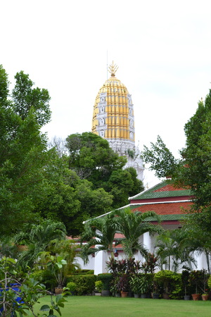 Phra Prang : The 36-meter-high Phra Prang(Pagoda)constructed using the early Ayuthaya style to enshrined the relic of the Lord Buddha.Wat Phra Si Rattana Mahathat.Phitsanulok Province.Thailand