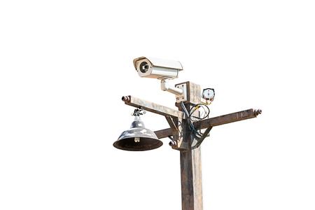paranoia: Security Camera ,CCTV on the pole  isolate on white