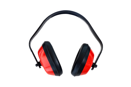 Protective red ear muffs isolated on a white background  photo