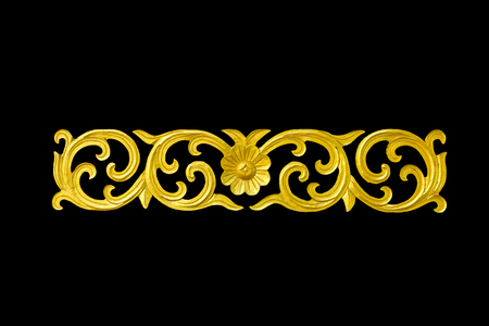 old antique gold frame Stucco wallsthai style pattern line design isolated on black background