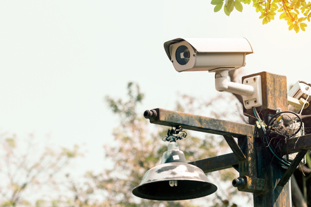 guard house: CCTV recording important events and a guard house and property Stock Photo