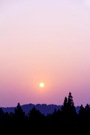 Sunrise with orange sky