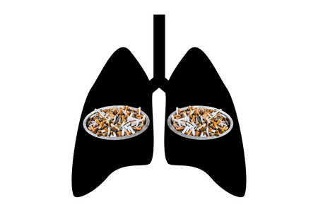 lung cancer: cigarette smoking in black lung  - lung cancer concept Stock Photo