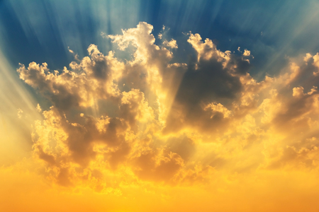 beautiful sunset with light rays