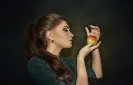 foxy girls: Girl with apple Stock Photo