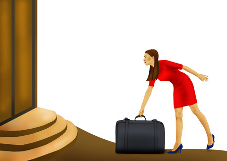 woman clothes: traveling woman with case on white background