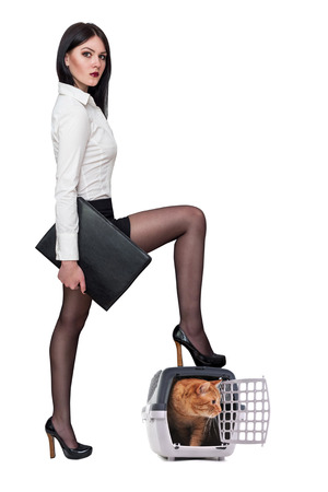 estuche: hermosa chica sexy en la ropa de oficina en un fondo blanco