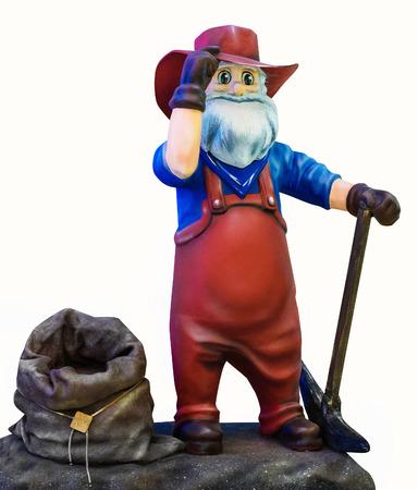 dwarf: Dwarf with a bag on a white background