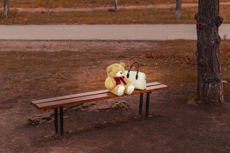 absence: bear on the bench with an umbrella on autumn background
