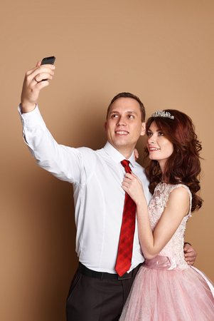 butonniere: bride and groom in love do marriage with happiness and fun Stock Photo