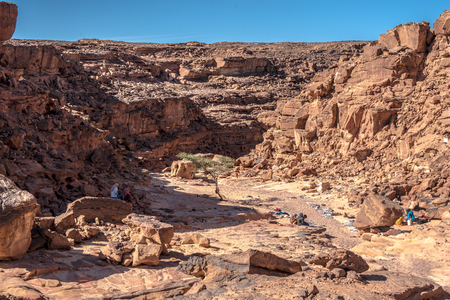 Colored stone canyons in the desert