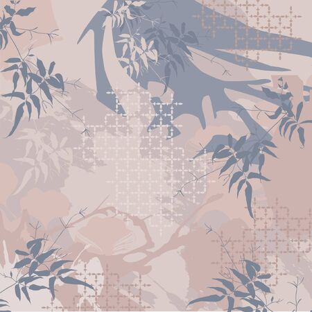 Square design scarf with abstract floral pattern