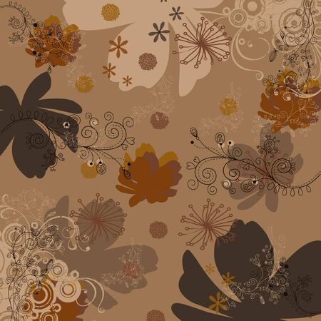 abstract floral design printed square scarf in brown color Vector Illustration