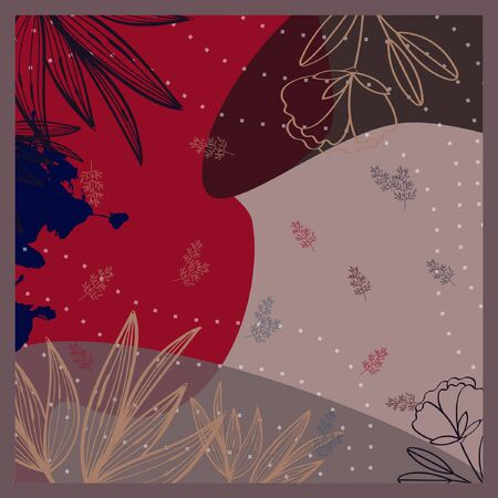 abstract floral pattern design of printed square scarf