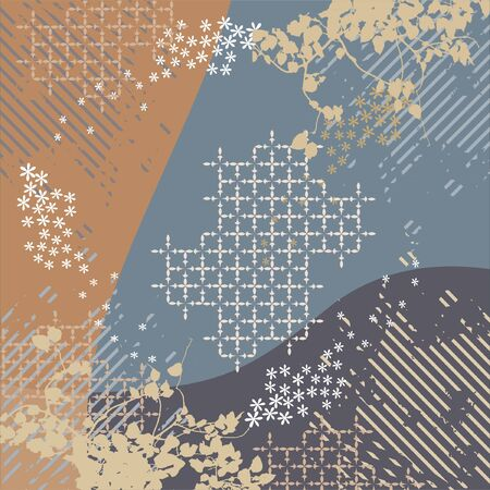 abstract floral pattern of scarf design Vecteurs