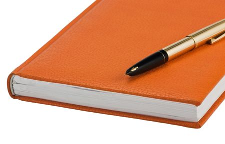 hard cover: A orange hard cover book isolated on white background Stock Photo
