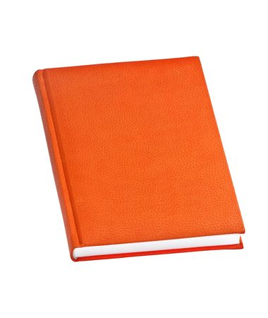 A orange hard cover book isolated on white background Stock Photo - 4594982