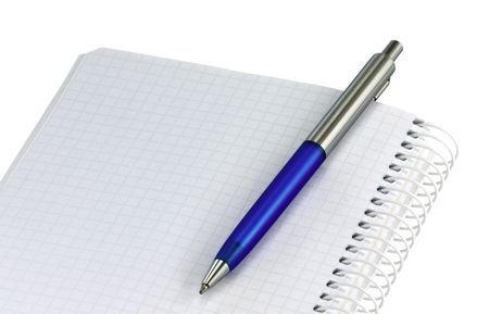 Open spiral notebook with blue ballpoint pen Stock Photo - 4601369