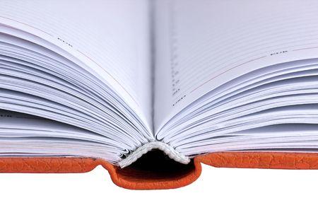 open orange hard cover book isolated on white background Stock Photo - 4601373