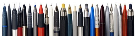 Panorama from various fountain pens, ball pens and pencils Stock Photo