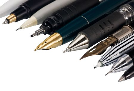 various fountain pens, ball pens and pencils
