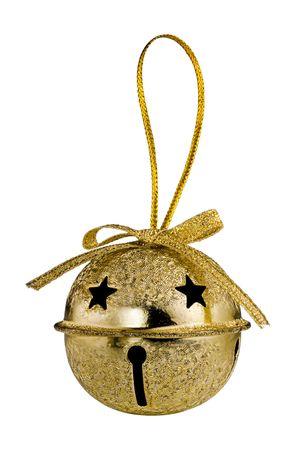 campanas: Oro Bell de Jingle de Navidad aislados sobre fondo blanco