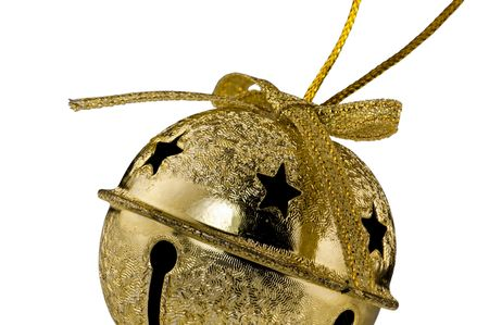 Gold Christmas Jingle Bell isolated on white background photo