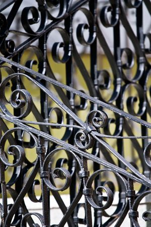 Closeup of vintage wrought-iron banister in the sunlight Stock Photo - 6341979