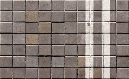 An empty bike lane. Double white lines. photo