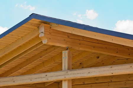 Home construction with wood framing and roof trusses Stock Photo