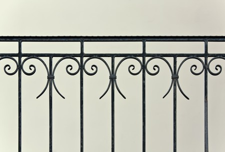 Closeup of vintage wrought-iron banister