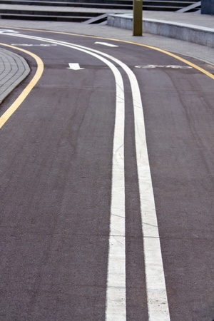 Road markings - dividing bicycle line photo