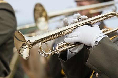 Marching military band at the parade Stock Photo