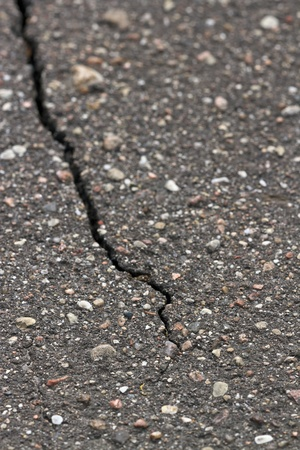 Asphalt crack detail photo