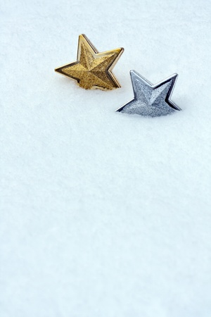 Shiny christmas star in snow Stock Photo - 10996604