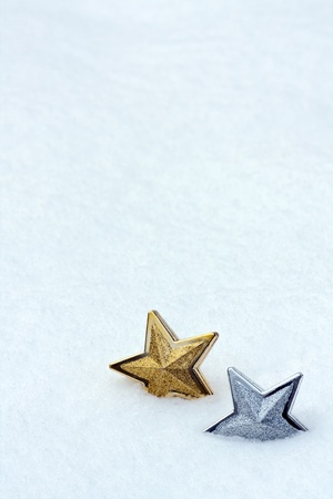 Shiny christmas star in snow Stock Photo - 10996602