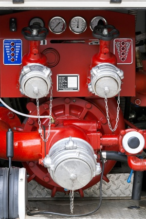 Control panel of fire truck photo