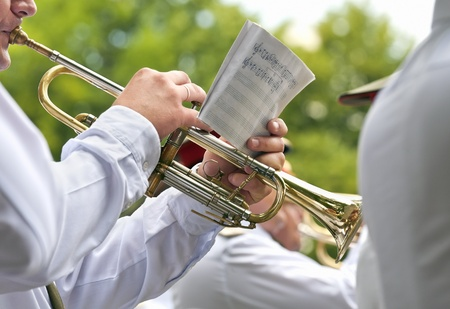 marching: Trumpet player in a military band Stock Photo