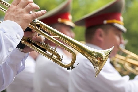 Trumpet players in a military band photo