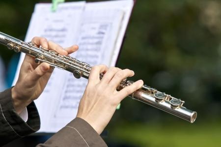 flauta: Flautista Foto de archivo